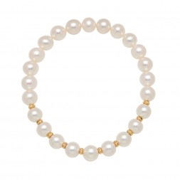 14KY Stretch Bracelet with 7-7.5mm Freshwater Cultured Pearl with Alternate Gold Beads
