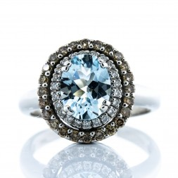 LEVIAN Aquamarine and Diamond RIng