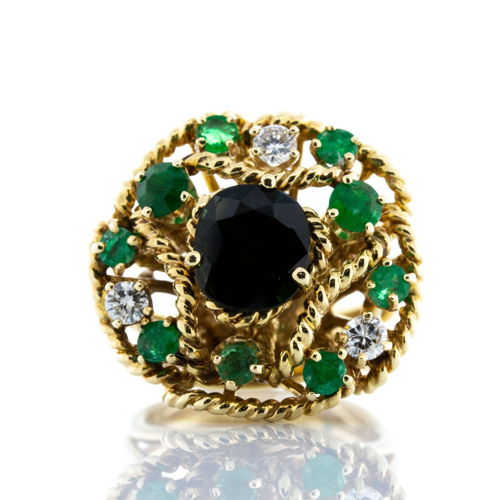 Blue Green Tourmaline, Emerald and Diamond Ring(1.90ctw)