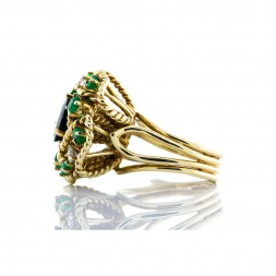 Blue Green Tourmaline, Emerald and Diamond Ring(1.90ctw)