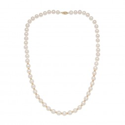 14KY 7-7.5 White Freshwater Cultured Pearls with 3mm Round Gold Beads on 18
