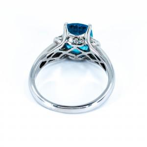 Blue Topaz and Diamomd Ring (.14ctw)