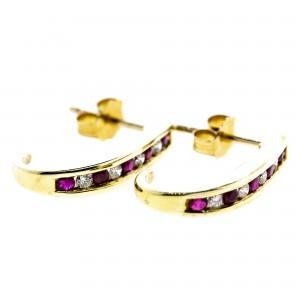 Ruby/Diamond J Hoop Earrings(.25ctw)
