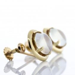14K Yellow Gold Moonstone Earrings.