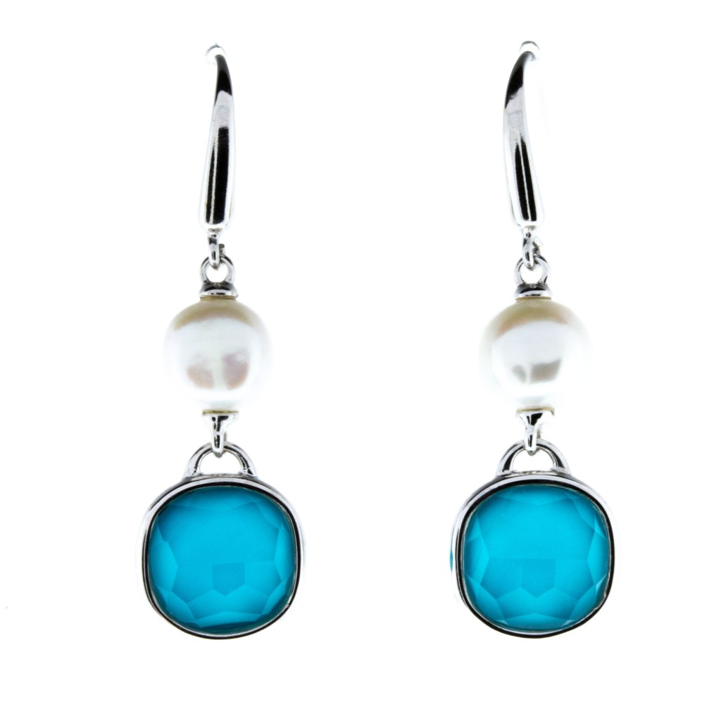 Turquoise and Pearl Dangle Earrings
