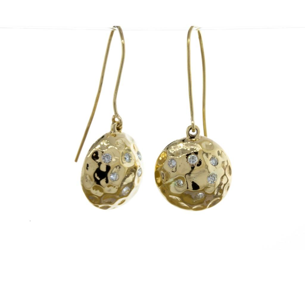 Hammered Diamond Dangle Earrings (.18ctw.)