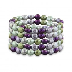 Set of Five 8-9mm Grapevine Baroque Fresh Water Cultured Pearl Stretch Bracelets, 7.5