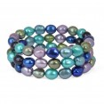 Set of Three 8-9MM Peacock Baroque Freshwater Cultured Pearl Stretch Bracelets