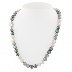 Sterling Silver 8-9MM Black, White and Gray Ringed Freshwater Cultured Pearl 18