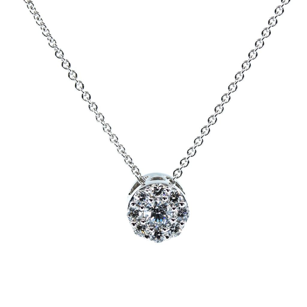 14kt White Gold Diamond Cluster Pendant (.40ctw)