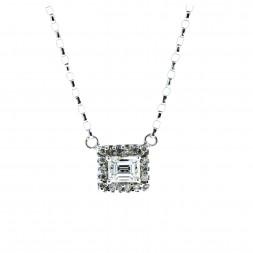 Emerald Cut Diamond Halo Necklace (.75ctw)