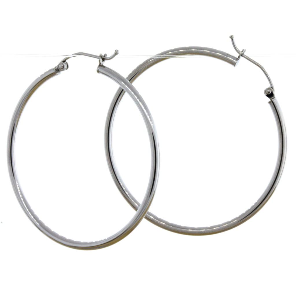 Sterling Silver Rhodium Plated 2mm Hoop Earrings