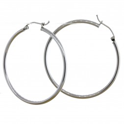 Sterling Silver Rhodium Plated 2mm Hoop Earrings