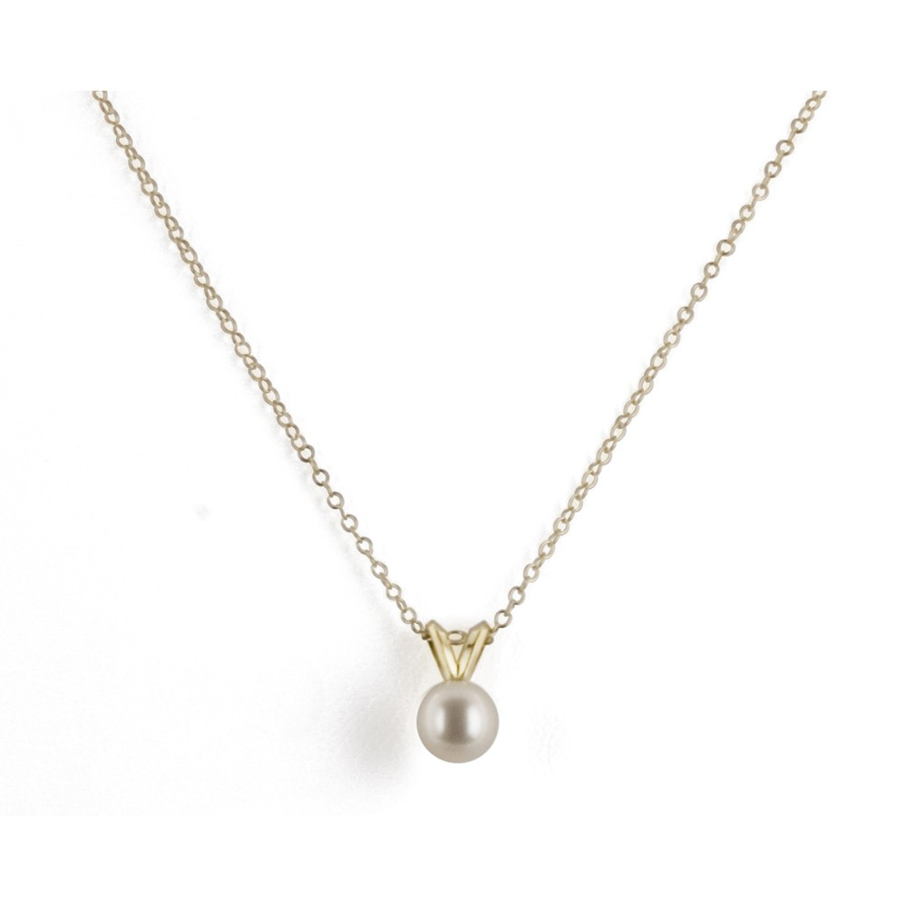 14K 5+MM White Freshwater Cultured Pearl 16