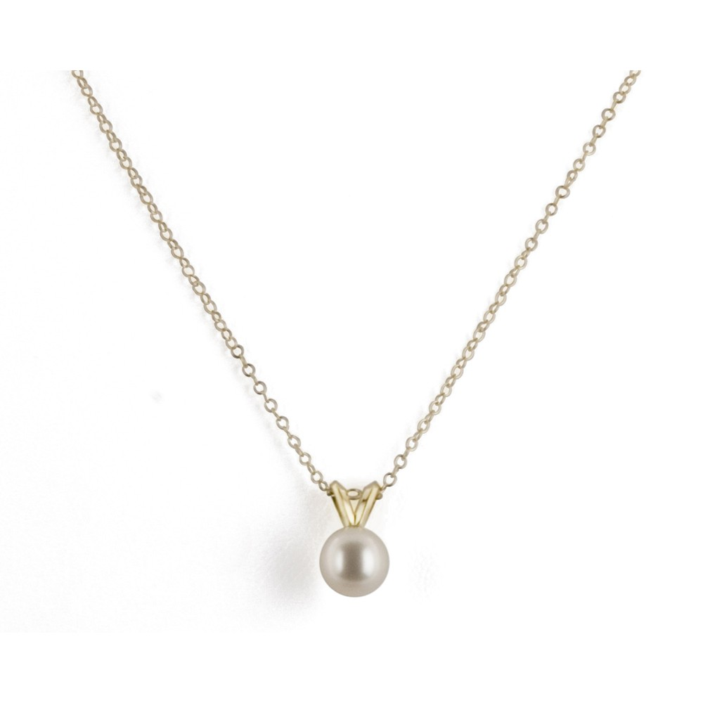 14K 6+MM White Freshwater Cultured Pearl 16