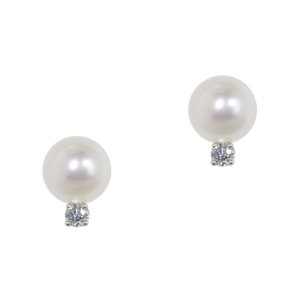 14K Diamond & 7+MM White Freshwater Cultured Pearl Earrings