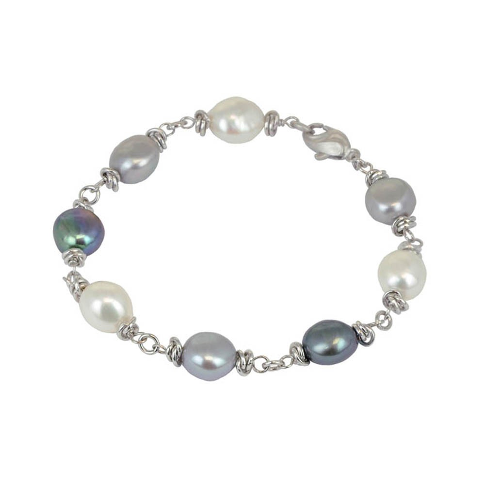 Sterling Silver 9-10MM Black White Gray Baroque Freshwater Cultured Pearl 7.5