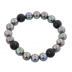 Sterling Silver 9-10mm Black Round Ringed Freshwater Cultured Pearl and 10mm Pave Crystal Bead 7.25