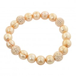 Sterling Silver 9-10mm Champagne Round Ringed Freshwater Cultured Pearl and 10mm Pave Crystal Bead 7.25