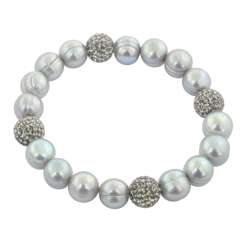 Sterling Silver 9-10mm Gray Round Ringed Freshwater Cultured Pearl and 10mm Pave Crystal Bead 7.25