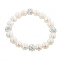Sterling Silver 9-10mm White Round Ringed Freshwater Cultured Pearl and 10mm Pave Crystal Bead 7.25