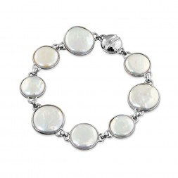 Sterling Silver 12-16mm White Baroque Coin Freshwater Cultured Pearl 7.5