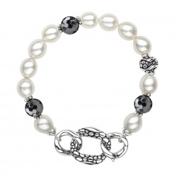 Sterling Silver 8.5-9MM Wht Oval FWCP and Hematite Stingray Bracelet 7.5