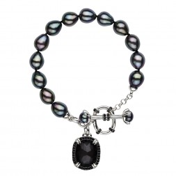 Sterling Silver Crystal and Hematite Doublet with Black Spinel and Black Oval and Button FWCP Toggle Bracelet, 7.5