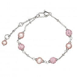 Sterling Silver Pink 4.5-5.5MM Potato FWCP and Crystal Tin Cup Brac. 6