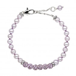 Sterling Silver Lilac 5+MM Potato FWCP and Crystal 6