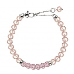 Sterling Silver Pink 5+MM Potato FWCP and Crystal 6