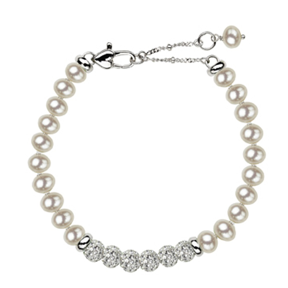 Sterling Silver White 5+MM Potato FWCP and Crystal 6