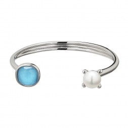 Sterling Silver 10-10.5mm Button Freshwater Cultured Pearl Turquoise Crystal Doublet Bangle Bracelet