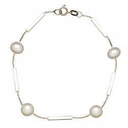14kyg 7-8mm Round Freshwater Cultured Pearl and Bar 7.5