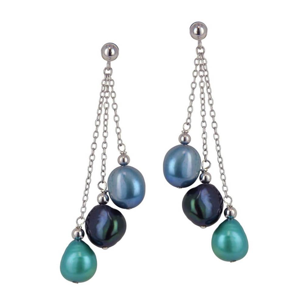 Sterling Silver 8-9MM Peacock Baroque Freshwater Cultured Pearl Dangle Earrings
