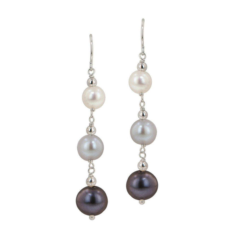 Sterling Silver 6-9MM Black, White and Gray Potato Freshwater Cultured Pearl Dangle Earrings