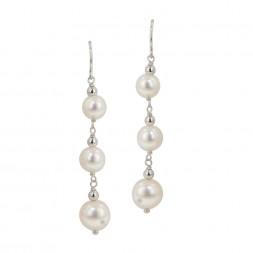 Sterling Silver 6-9MM White Potato Freshwater Cultured Pearl Dangle Earrings