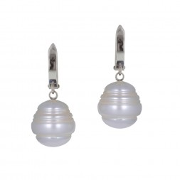 Sterling Silver 11-12MM  White Ringed Freshwater Cultured Pearl Dangle Earrings