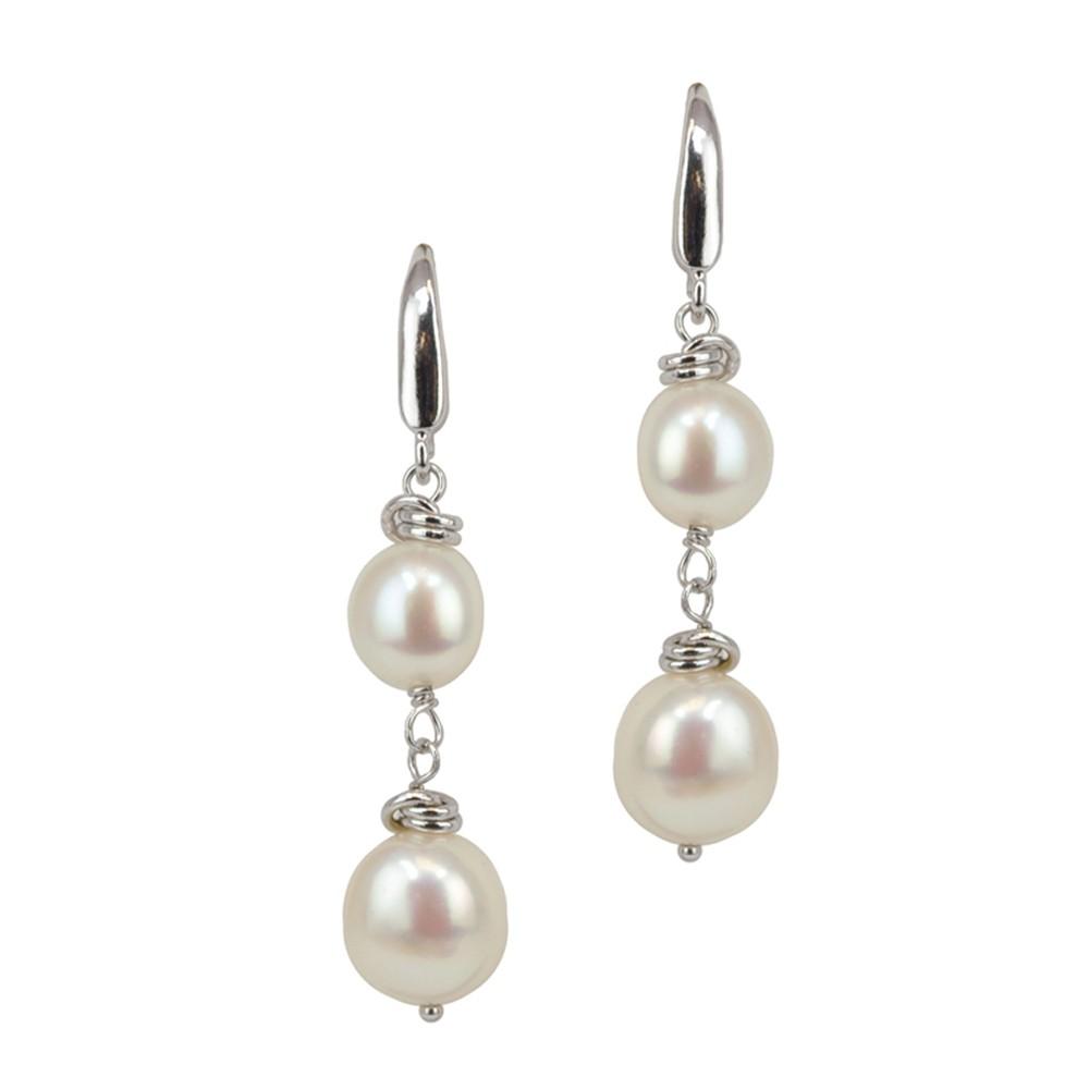 Sterling Silver 8-10MM White Baroque Dangle Earrings