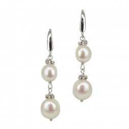 Sterling Silver 8-10MM White Baroque Dangle Earrings