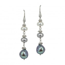 Sterling Silver 7-10MM BWG FWCP COLOR CRUSH DANGLE EARRINGS