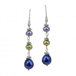 Sterling Silver 7-10MM Peacock Freshwater Cultured Pearl Dangle Earrings