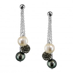 Sterling Silver 8-9mm Round Ringed Black Fresh Water Cultured Pearl and Pave Crystal Bead Back Drop Earring