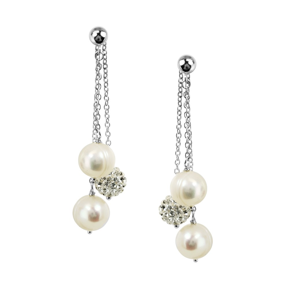 Sterling Silver 8-9mm Round Ringed White Fresh Water Cultured Pearl and Pave Crystal Bead Back Drop Earring