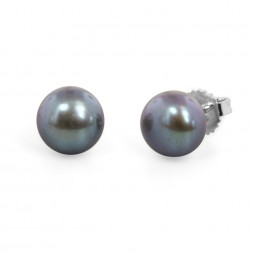 Freshwater Cultured Pearl Stud Earring Sterling Silver 9-9.5mm Black Button