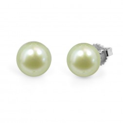 Freshwater Cultured Pearl Stud Earring Sterling Silver 9-9.5mm Mint Button