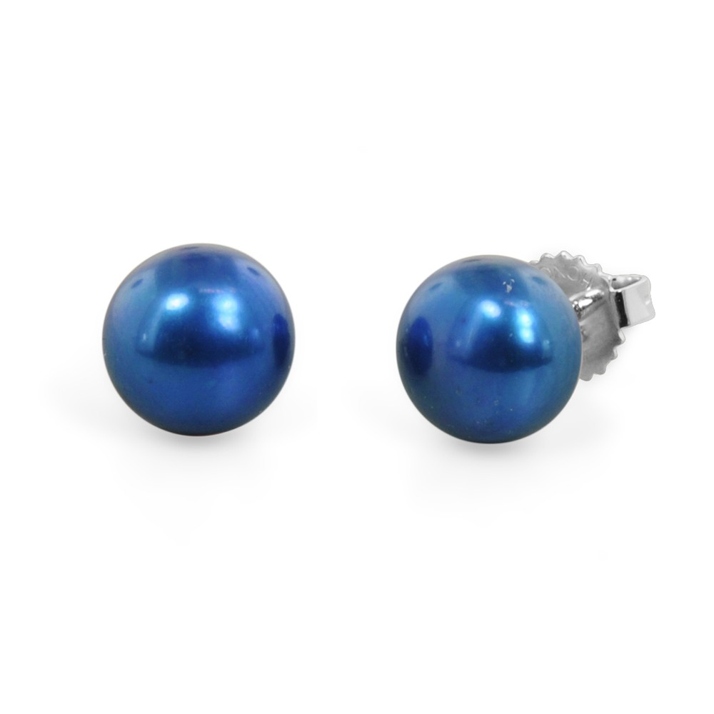 Freshwater Cultured Pearl Stud Earring Sterling Silver 9-9.5mm Indigo Button