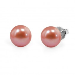 Freshwater Cultured Pearl Stud Earring Sterling Silver 9-9.5mm Dark Raspberry
