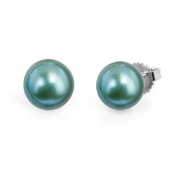 Freshwater Cultured Pearl Stud Earring Sterling Silver 9-9.5mm Sea Green Button