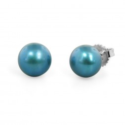 Freshwater Cultured Pearl Stud Earring Sterling Silver 9-9.5mm Teal Button